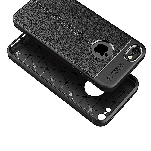 Iphone 5/5s/se Custodia Cover, Elekin Iphone 5/5s/se leather case noble PU leather soft TPU Silicone Slim thin backcover cover Premium Scratch-resistant per Iphone 5/5s/se [Nero]
