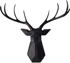 Deer Head Wall Decor - Faux Taxidermy Animal Head Wall Art - Geometry Deer Head Home Decor,8 Point Buck Deer Head Bust Wall Hanging (Black, 23.3''Wx21.3''H)