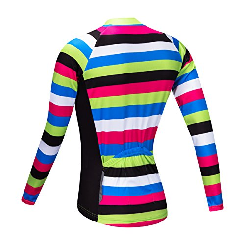 Manches A Femme pour WOSAWE Respirant Cyclisme Strips Shirt Longues 4d rembourr Pantalon x14qwIPUq