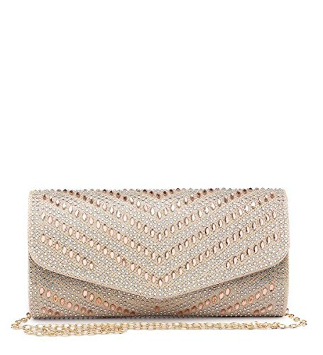 Bags Hand M24 Party Clutch Glitter Nude Shimmer Shimmer Dressy Ladies Womens Flap Prom Occasion Evening Diamante Foldover Zq76Kgw