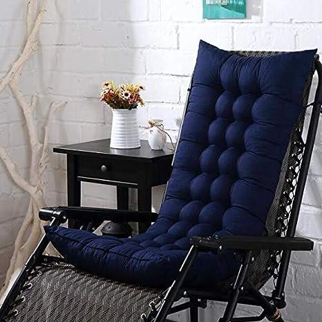 Marbeine - Colchón de cojín para Tumbona, cojín Mate para Silla de Relax, Tumbona de jardín, terraza 48 x 125 x 8 cm, Bleu Foncé