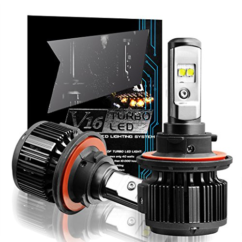 : Cougar Motor H13 (9008 High/Low) LED Headlight Bulbs All-in-One Conversion Kit,7200 Lumen (6000K Cool White)