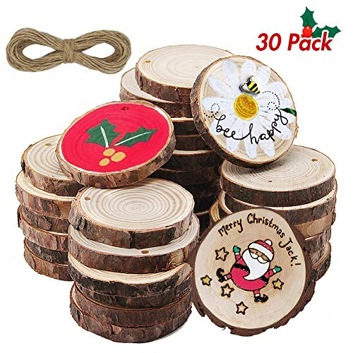 ATDAWN Natural Wood Slices with Holes, 30 Pcs 2.4-2.8 Inches Unfinished Wooden Circles, Craft Wood kit, Christmas Ornaments DIY Crafts (Diy Crafts Christmas For)