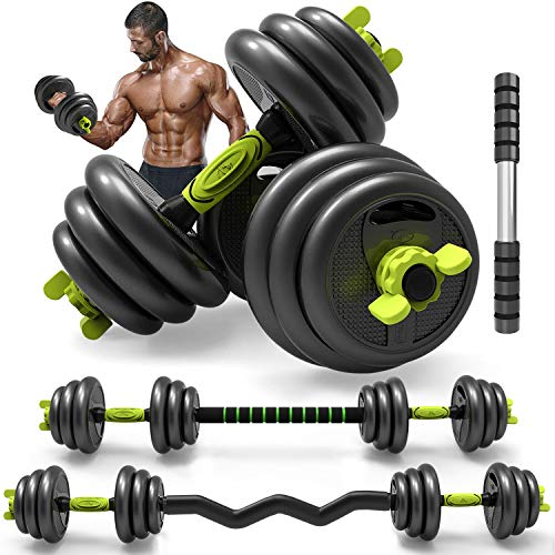 PIN JIAN Adjustable Weight Dumbbells Barbell Set of 5/10/15/20/44 up to 66lb 3 in 1 Home Fitness Exercise Dumbbells for Adult Gym Workout, Strength Training with Connecting Rod