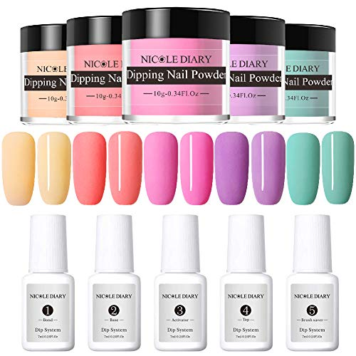 (NICOLE DIARY Dipping Nail Powder Starter Kit 5 Colors Matte Effect Acrylic Dip Nail Powder System with Bond, Base, Activator, Top, Brush Saver Essential Set)