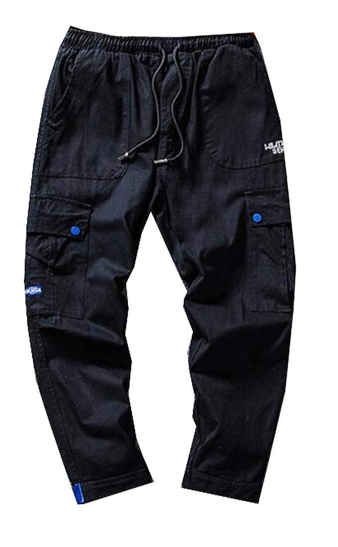 pipigo Mens Casual Drawstring Solid Color Multi Pockets Cargo Jogger Pants