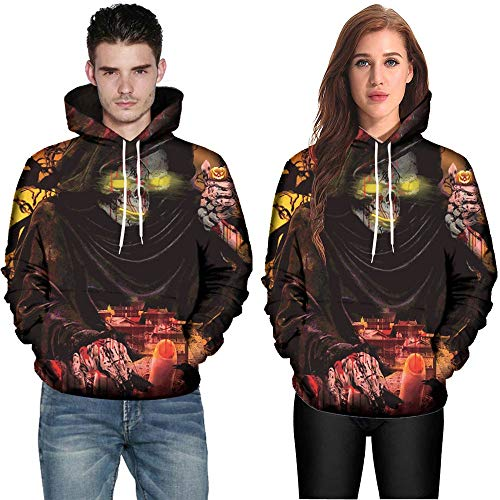 Clearance Deals,WUAI Halloween Costumes for Adults Mens Womens 3D Pumpkin Print Funny Plus Size Hoodie Jackets(Black-A,US Size XL = Tag 2XL) for $<!--$7.95-->