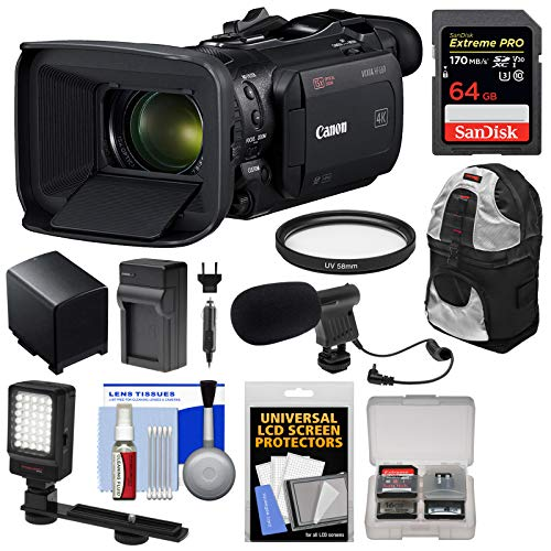 Canon Vixia HF G60 4K Ultra HD Video Camera Camcorder with 64GB Card + Backpack + Battery + Charger + Microphone + Kit