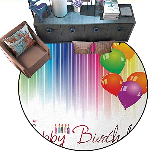- Birthday Round Area Rug Carpet Rainbow Colored Striped Backdrop Balloons Stylized Lettering Candles Artwork Prit Anti-Skid Area Rug (67