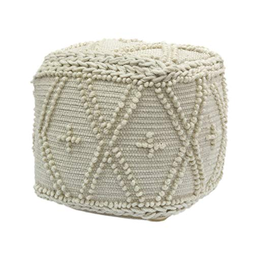 Christopher Knight Home Truda Cube Pouf, Boho, White Wool and Cotton (Pouf Cube)