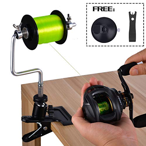 FISHINGSIR Aluminum Fishing Line Spooler System with Clamp and Suction Cup Fishing Line Scissors
