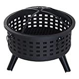 Cheap Outsunny 26″ Round Steel Patio Backyard Wood Burning Fire Pit With Lattice Design and Accessories