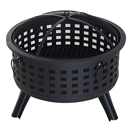 Outsunny 26'' Round Steel Patio Backyard Wood Burning Fire Pit With Lattice Design and Accessories by Outsunny