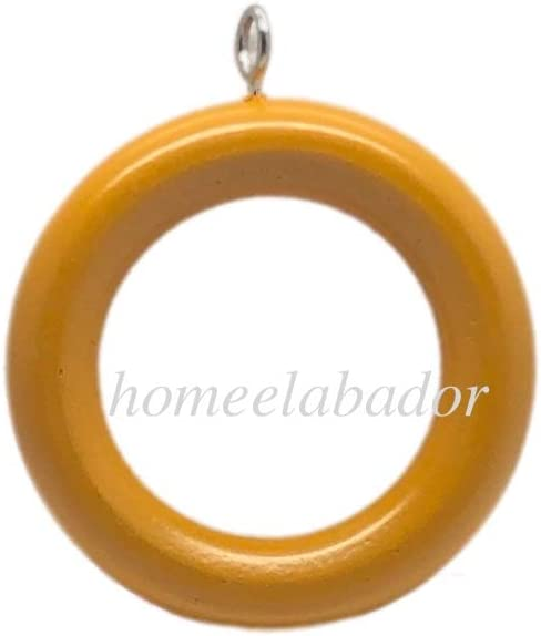 HomeElabador/®38mm Wooden Curtain Hook Rings with Eyes Colour Coated Natural Wood, 6