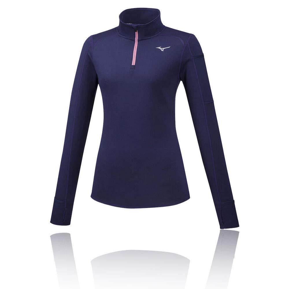 Mizuno Damen Vortex Warmlite Half Zip Laufbekleidung Longsleeve Dunkelblau - Rosa S
