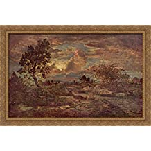 Sunset at Arbonne 40x28 Large Gold Ornate Wood Framed Canvas Art by Theodore Rousseau
