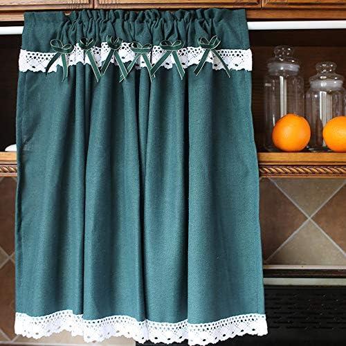 GSKB カフェカーテン グリーン キッチンハーフカーテン おしゃれ 目隠し 北欧 田園風 ショートカーテン 可愛い 綿 リネン 小窓カーテン シンプル 間仕切り 飾り レース付き