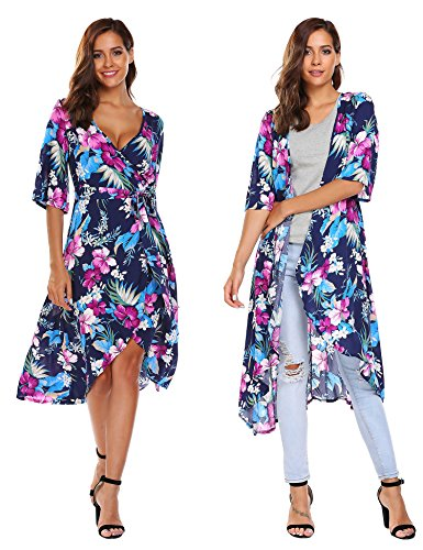 Zeagoo Women's Floral Deep V-Neck Trumpet Sleeve Flowy Party Beach Cover up Maxi Dress,Blue,Medium