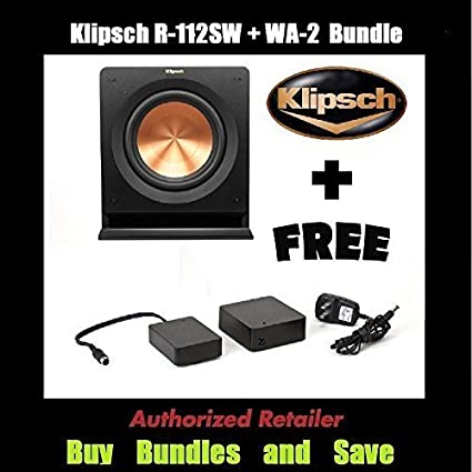 Klipsch R-112SW 12'' Reference Series Powered 600 Watt Subwoofer + Klipsch  WA-2 Wireless Subwoofer Kit
