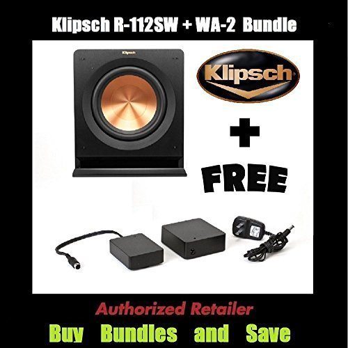 12' 600w Woofer - Klipsch R-112SW 12'' Reference Series Powered 600 Watt Subwoofer + Klipsch WA-2 Wireless Subwoofer Kit