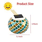 Mosaic Glass Solar Powered Table Light, GLISTENY Glass Ball Garden Lights Color Changing Waterproof Outdoor Light for Yard Home Party Patio Lawn Outdoor Indoor Decoration