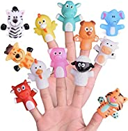 """FUN LITTLE TOYS 12 PCs Animal Finger Puppets, 2.17"""" Bath Finger Puppets for Todders, Great Gift for Girls"""