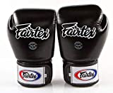 Fairtex Muay Thai Boxing Gloves BGV1 Size : 10 12 14 16 oz. Training Sparring All Purpose Gloves for Kick Boxing MMA K1 (Solid Black, 16 oz)