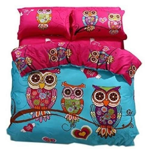Joubuy Home Textile Cute Owl Love Bedding Owl Bedding for Girls Queen Twin Size Duvet Cover Set Queen Twin Size 4 Pieces 100% Cotton (Twin)
