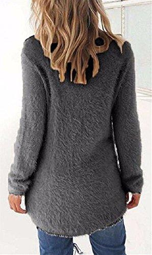 Tumblr Eleganti T shirt Solid Irregolare Cime Pullover Unita Sweatshirt Lunghe Donna Maglie Delle Maniche Scuro Invernali Ragazza Blusa Autunno Girocollo Asimmetrico Grigio Tinta Top LAIKETE Maglioni Elegant Orlo 1qPwEE