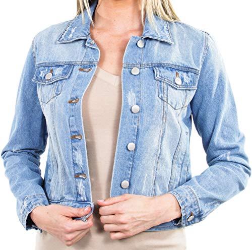 Women's Juniors Premium Distressed Denim Long Sleeve Jacket in Washed Light Blue Size M