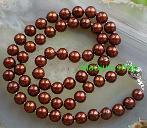 "FidgetFidget Genuine 7-8mm Chocolate Akoya Cultured Pearl Necklace 18"""