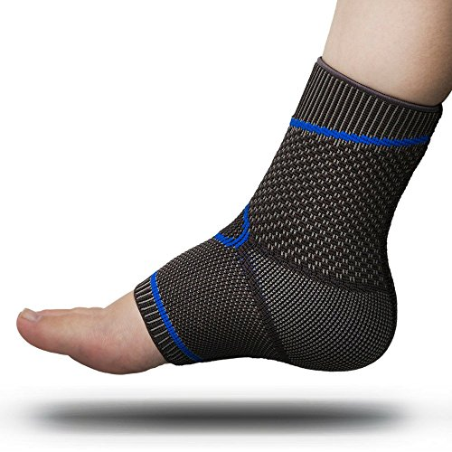 Premium Foot Sleeve and Ankle Brace Compression Support by FOMI Care | Stabilizing Sock Wrap for Plantar Fasciitis, Stiff or Sore Muscles | Reduces Swelling, Comforts Heal Spurs (Small / Medium) (Ankle Support Hockey)