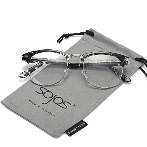 SojoS Clubmaster Semi Rimless Polarized Sunglasses Clear Lens Eyeglasses SJ5018 With Black Printed Frame/Silver - Eyeglasses Frames Clear