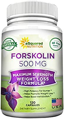 100% Pure Forskolin 500mg Max Strength - 120 Capsules, Forskolin Extract Supplement for Weight Loss Fuel, Coleus Forskohlii Root 20% Forskolin Diet Pills, Belly Buster Fat Burner 2X Slim Trim Lose