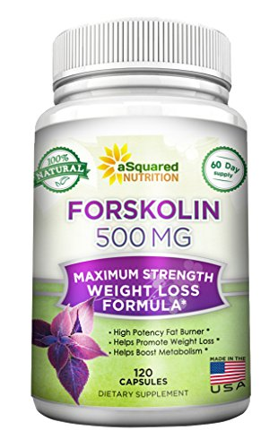 100% Pure Forskolin 500mg Max Strength - 120 Capsules, Forskolin Extract Supplement for Weight Loss Fuel, Coleus Forskohlii Root 20% Forskolin Diet Pills, Belly Buster Fat Burner 2x Slim Trim Lose ()