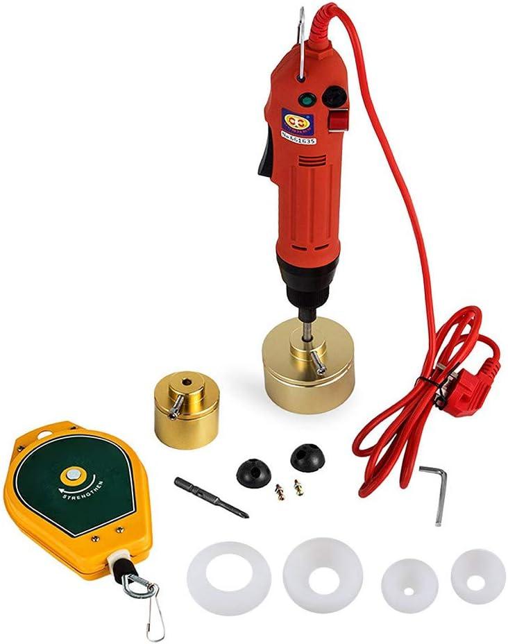 4YANG Máquina taponadora eléctrica Máquina taponadora manual La tapa de 220V es adecuada para 10-50 mm hasta 90 botellas por minuto