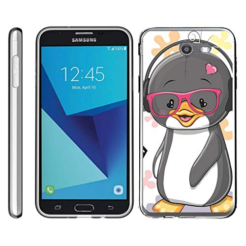 TurtleArmor | Compatible for Samsung Galaxy J7 2017 Case | J7 Prime | J7 Sky Pro [Flexible Armor] Ultra Slim Compact Flexible TPU Case Fitted Soft Bumper Cover Animal - Cute Penguin