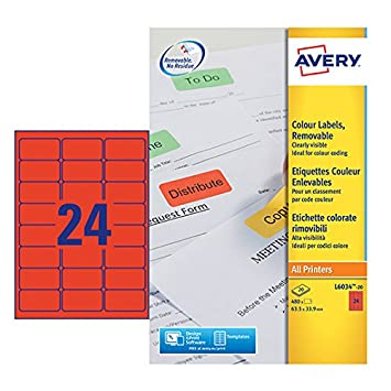 avery l6034 20 self adhesive removable red filing labels 24 labels