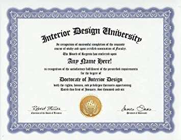 Interior Designer Design Degree Custom Gag Diploma Doctorate Certificate Funny Customized Joke Gift