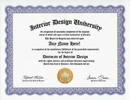 Interior Designer Design Degree: Custom Gag Diploma Doctorate Certificate  (Funny Customized Joke Gift