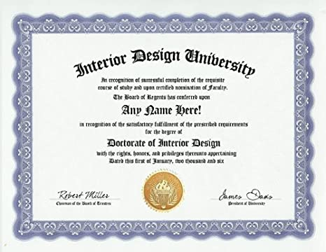 Amazon.com Interior Designer Design Degree Custom Gag Diploma Doctorate Certificate (Funny Customized Joke Gift - Novelty Item) Toys u0026 Games  sc 1 st  Amazon.com & Amazon.com: Interior Designer Design Degree: Custom Gag Diploma ...