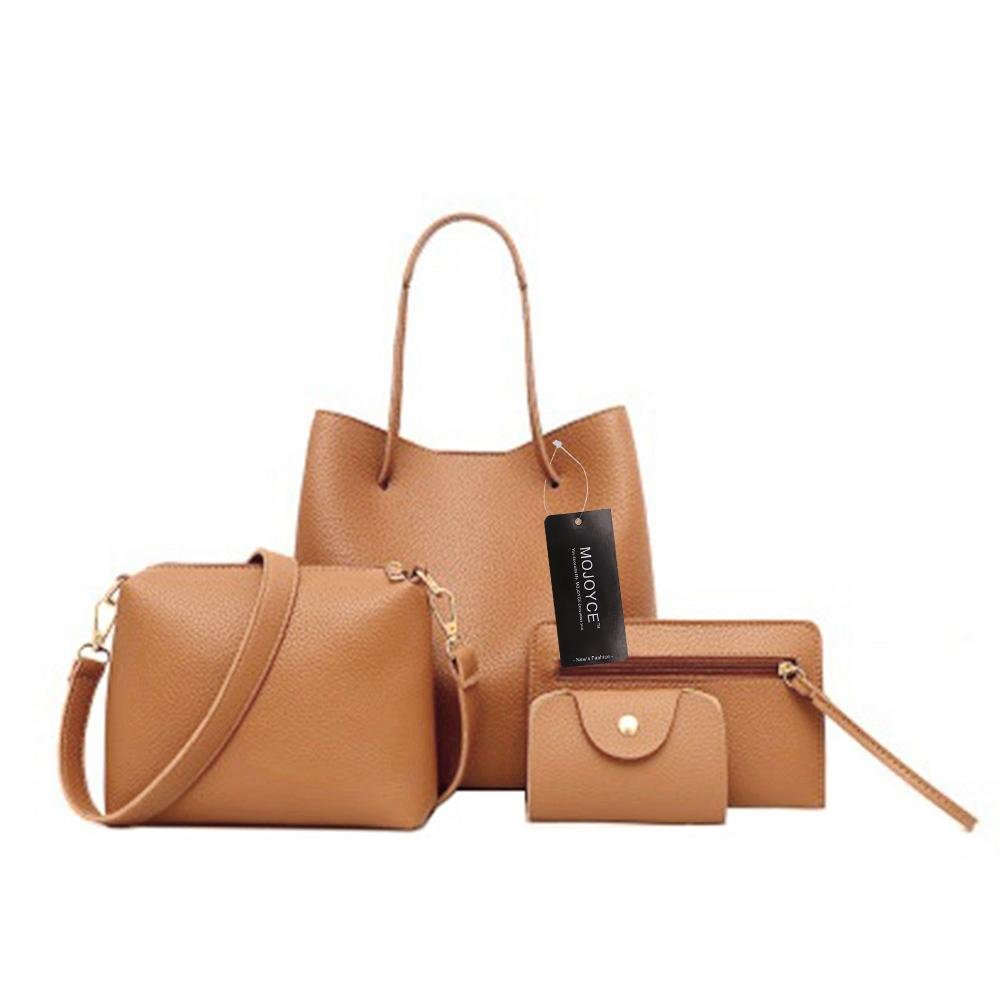 2d7b4114556fb BESTVECH Brown Fashion 4pcs Set Women Bag Fashion Solid PU Single Shoulder  Messenger Bags: Amazon.in: Shoes & Handbags