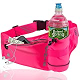 Athlé Running Fanny Pack with Water Bottle Holder - Adjustable Run Belt Storage Pouch with Zipper Pocket for Sports and Travel - 360° Reflective Band - Fits iPhone Plus, Galaxy Note - Hot Pink
