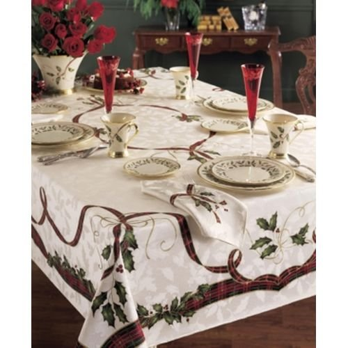 Christmas Tablecloth (Lenox Holiday Nouveau Tablecloth, 60 by-120-Inch Oblong/Rectangle, Ivory)