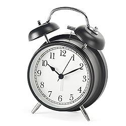 Shozafia 3 4 Classical Retro Twin Bell Alarm Clocks Mute Silent Quartz Movement Non Ticking Sweep Analog Morning Wake Up mechanical Alarm Clock with Nightlight Backlight For Kids