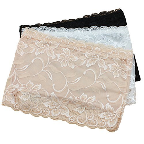 Lace Bandeau Top - LUOEM 3pcs Women's Floral Lace Tube Top Stretchy Strapless Non-Padded Bandeau Top Size XL