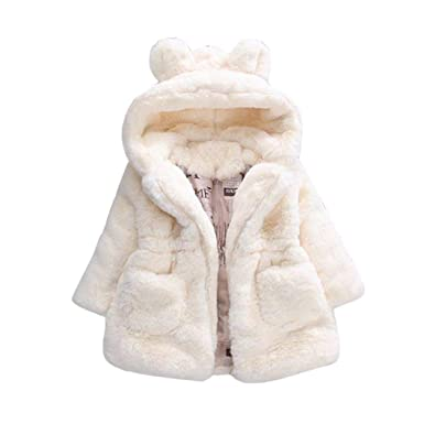 Manteau à Capuche Bébé Fille Hiver Chaud Fourure Ultra Épais Longra  Oreilles de Lapin Forme Vêtements d extérieur Parka Doudoune Cape Teddy  Blouson à ... f464a806ecc