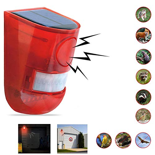 Comboss Solar Outdoor Animal Repeller, Solar Strobe Light with Motion Detector Solar Alarm Light 110 db Sound Security Siren, expelling Raccoons, Rabbits, Squirrels, etc, Protected Home, Farm, Barn ()