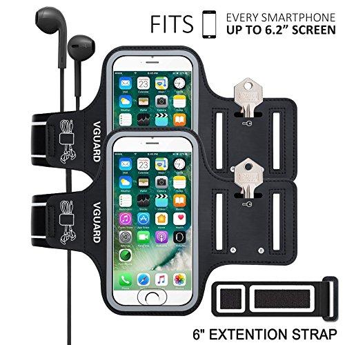VGUARD Brazalete Deportivo para 6.2 Pulgados iPhone X/8 Plus/7 Plus [ID Touch Compatibles] Caja del Brazalete Antideslizante para Deportes con Soporte para Llaves, Cables, Tarjetas y Banda Reflectante Negro