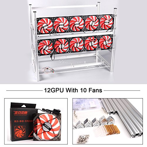 12 GPU Miner Case With RedFans, Aluminum Stackable Mining Rig Open Air Frame For Ethereum(ETH)/ETC/ ZCash Ethereum,Bitcoin,Cryptocurrency and Altcoins to improve (12 GPU Sliver Frame with 10 Red fans)